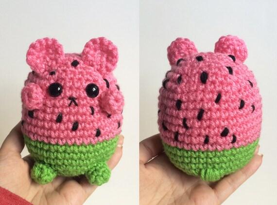 Amigurumi Watermelon : Watermelon Bear Plushie Crochet Amigurumi Watermelon Teddy