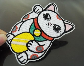 Cat Patch Cute Cat patches Large Japan Cats patches Applique embroidered patch Iron On Patch Sew On Patch