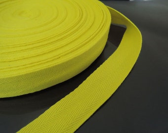 "Yellow Cotton Twill Tape 1"" or 1/2""- Yellow Citrene Herringbone Cotton Twill Tape CT33 ( 25mm 1 inch ) or ( 13mm 1/2 inch )"