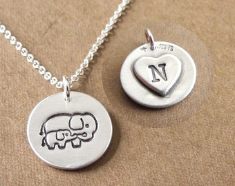 Personalized Small Mother and Baby Elephant Necklace, New Mom Necklace, Heart Monogram, Fine Silver, Sterling Silver Chain, Made To Order