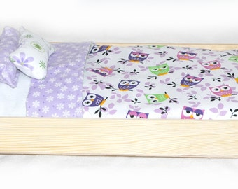 Single Doll Bed - Owls Owls Owls American Made Girl Doll Bed - Fits AG Doll and 18 inch dolls Bitty Baby Doll Bed 18' Doll Furniture