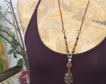 Woodland Oak Leaf Mixed Media Necklace