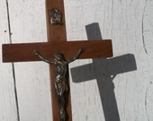 Simple Devotional Antique Vintage French Wall Crucifix Wooden Monastic Cross 1930