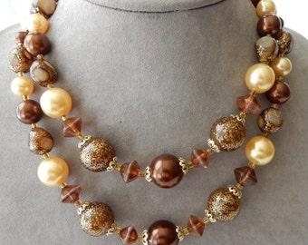 Chunky 2 Strand Glitter Bead Choker Necklace     NAH46