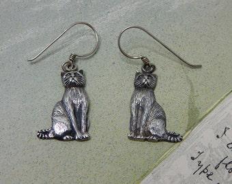 Sterling Silver Kitty Cat Dangle Pierced Earrings