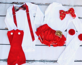 Valentine's Day Outfits, Twins Baby Boy & Baby Girl Sets. Red Boy Red Plaid Bow Tie Suspenders, Girl Bow Bodysuit, Leg Warmers Diaper Cover