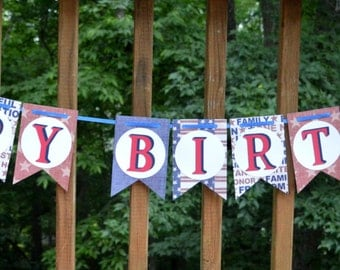 READY TO SHIP Red White & Blue Birthday Banner 4th of July Happy Birthday Party Decoration Stars and Stripes Patriotic Party Supplies