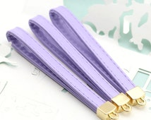 4PCS PVC luster fabric keychain mobile strap with gold metal cap loop findings Lavender (14-48-28)