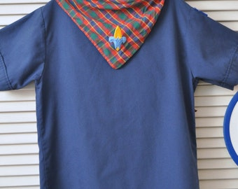 Vintage Boy Scouts of America Shirt and Plaid Scarf/Theater Costume 80s Uniform Youth Large 14-16/Flag Patch Blue Button Front Childs