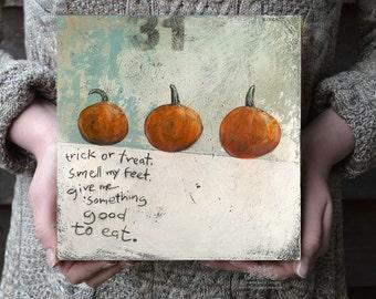 Trick or Treat Halloween Wall Decor, Pumpkin Picture, Pumpkin Painting, Halloween Decor, Rustic Halloween Folk Art Print, Trick or Treat