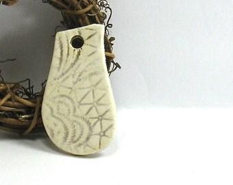 Ceramic Pendant, Stoneware Pendant - Brown Antique Lace Pendant (OOAK Focal Pendant, Ceramic Keychain, Ceramic Gift Tag, Ceramic Necklace)