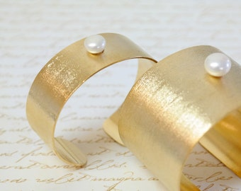 Women's Gift, Wide Gold Cuff Bracelet with Freshwater Pearl - Statement Jewelry
