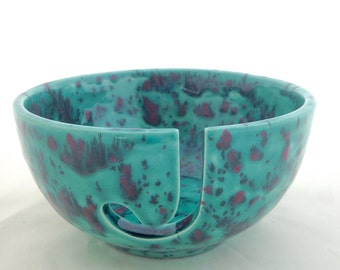 Ceramic Yarn Bowl - Hand Painted Pottery Knitting Bowl - Aqua green, cranberry, black