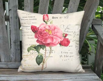 Pillow Cover - Pillow - Robier Rose French Cottage Farmhouse - Pink Flower Pillow - 16x 18x 20x 22x 24x 26x 28x Inch Linen Cotton Cushion