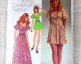 Simplicity 9725 sewing pattern mini dress maxi Flutter sleeves scoop neck 1970s Bust 32.5 midi fitted midriff empire waist