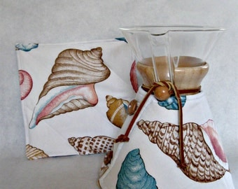 Chemex  Cozy and Warming Pad Set--Fits 8 cup size with wooden collar-Sea Shells