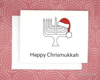 Christmas Card, Happy Chrismukkah, Hanukkah Card, Unique Holiday Card, Christmas + Hanukkah, Santa Hat, Menorah, Holiday Gift