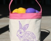 Children's Easter Basket Pink with purple Bunny Rabbit