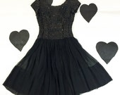 50's 60's Black Sequined Silk Chiffon Party Dress 1960's 1950's Dream Girl