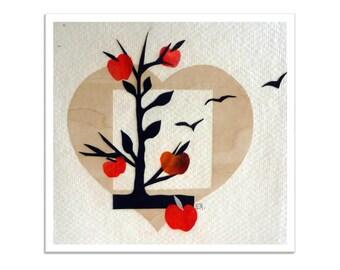 Paper collage art card, handmade original artwork, cut-out art, birds garden apple tree