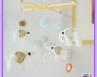 Baby Crib Mobile, Neutral Mobile, Nursery Decor, Elephant Mobile, White Turquoise modern circles, Custom Mobile