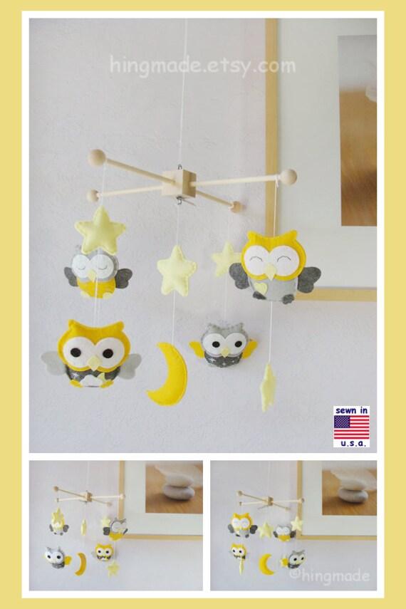 Baby Mobile, Baby Crib Mobile, Yellow Nursery Decor, Owl Mobiles, Yellow and Gray Nursery Decor, Match Bedding Mobile