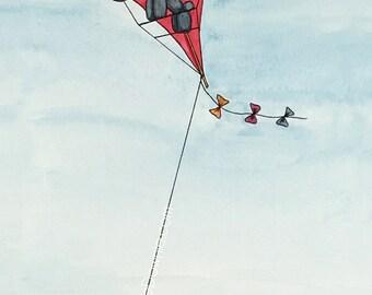 Watercolor Balloon Animal Elephant Kite Print