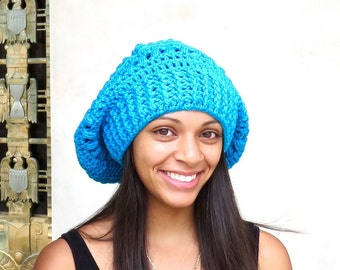 Crochet Slouchy Hat, Tam Hat, Hippie Hat, Crochet Hat, Color is Aqua