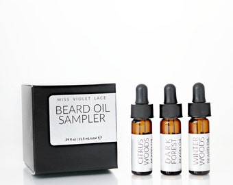 Beard Oil Sampler set | Xmas Gifts for Him | Trial Size Beard Oil | 100% natural + vegan beard oils | Set of 3