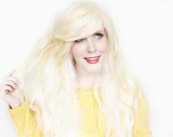 SALE Long Blonde wig | Wavy Blonde White wig | Blonde White Scene wig, Cosplay wig | Topaz Petal