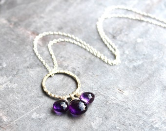 Amethyst Necklace, Sterling Silver Circle Pendant Necklace, Purple Amethyst Jewelry
