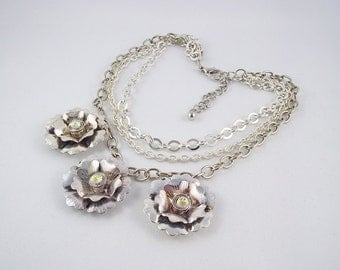 Dramatic Large Flower 3 Strand Silver Necklace