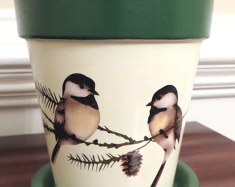 Chickadee and Pine Four Inch Tall Flower Pot