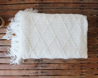 vintage hand knit throw blanket