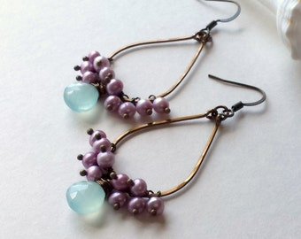Purple Aqua Cluster Earrings, Aqua Lavender Gemstone Earrings, Mint Gemstone Earrings, Boho Cluster Earrings:  Ready to Ship