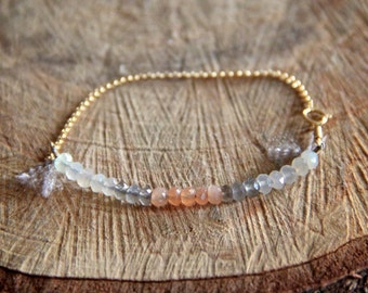 Moonstone bracelet with 14 k gold fill chain