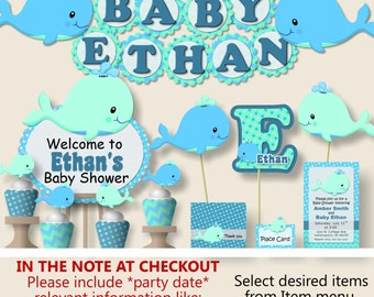 WHALE Baby Shower Decorations or Nautical First Birthday Party - Invitation, Party Favors, Banner, Party Hat - Blue, Aqua, Teal