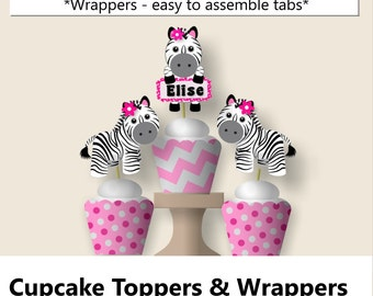 Pink Baby Girl Zebra Baby Shower CUPCAKE TOPPERS, Zebra Birthday Party Supplies - Package, Invitation, Cake Topper, Favors, Cupcakes, Invite