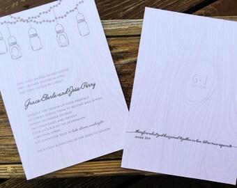 boho wood grain Wedding Invitation, rustic Wedding Invitation, mason jar wedding Invite