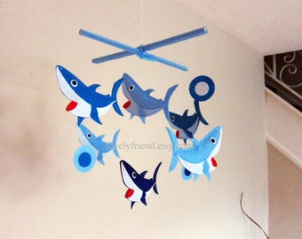 """Baby Crib Mobile - Baby Mobile - Blue Decorate Nursery Mobile - """"Six Little Sharks in The Sea"""" (Pick your color)"""