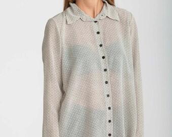 White shirt, buttoned down collar, semi sheer top, Collar Blouse, geometric print shirt, long sleeves top, white collar shirt, white blouse
