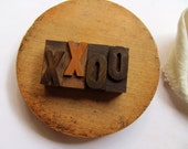 Vintage Letterpress Letter X Letter O Letters XO Hugs Kisses Printer Block X O Stamp Engagement Love Stamp Wedding Decor Wood Type Printing