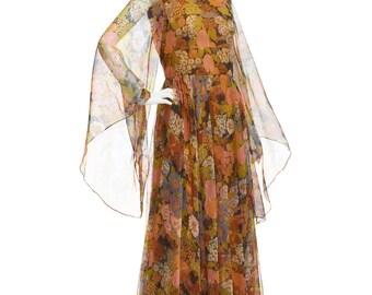 Vintage 70's Earthy Orange Floral Print Sheer Angel WING Empire Waist Full Skirt Hippie Bohemian Festival Maxi DRESS