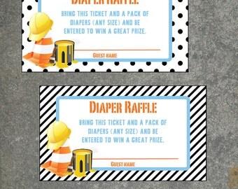 Under Construction Diaper Raffle tickets