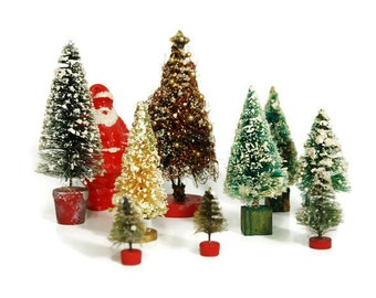 Vintage Christmas Trees and Santa