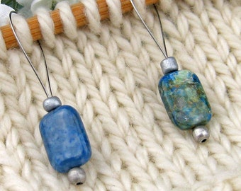 Stitch Markers, Knitting, Jasper, Semi-Precious Stones, Blue Green, Snag Free, Jeweled Tool, Knitting Accessory, Supplies, Gift for Knitters