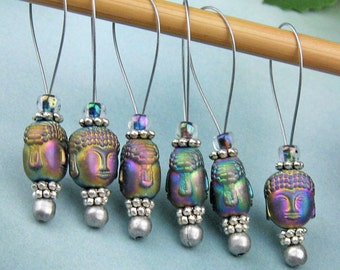 Stitch Markers, Knitting, Hematite Buddha, Semi-Precious Stones, Multi Colors, Snag Free, Knitting Tool, Knitting Accessory, Knitters Gift
