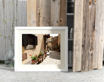 Tuscany Print - Italy Photography - Tuscan Decor  Italian Photograph Rustic Mediterranean Decor Geraniums Photo Flower Pots Shutters