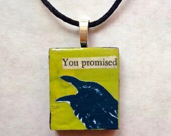 You Promised - Raven Black Bird Pendant Necklace Blue Green Art Jewelry