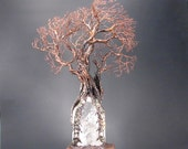 Rainbow Quartz Crystal, Wire Tree Of Life sculpture, Ancient Windswept Tree, Tourmaline Tourmilated Prehenite, handmade gift idea, art, 18""